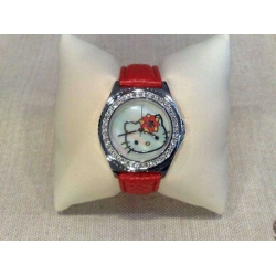 Orologio Hello Kitty acciaio e cinturino pelle rossa