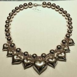 Collana argento cuori grandi
